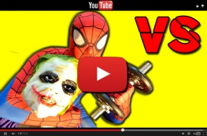 Youtube video SPIDERMAN vs JOKER in Real Life! Superhero Arm Wrestling